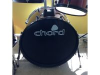 Chord drum kit, drums,cymbals, seat, sticks everything you need