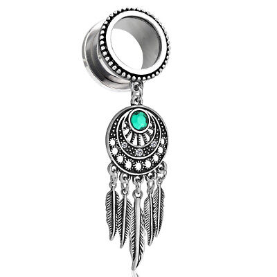 PAIR Dream Catcher Dangle Beaded Edge Screw Fit Tunnels Plugs Earlets -
