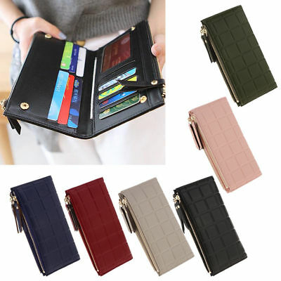 New Womens Long Wallet Double Zipper Buckle Clutch Bag Check Embossed Coin (Double Zipper Purse)