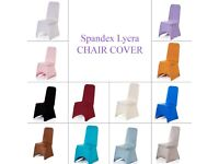 LYRCA SPANDEX CHAIR COVERS IN WHITE IVORY BLACK 18 COLOURS BANQUET WEDDING RECEPTION PARTY £130