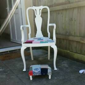 Unique Shabby chair and matching footstool