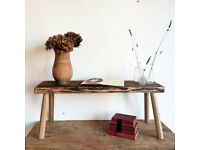 Rustic Stunning Antique Parlour Hardwood Table or Display Bench