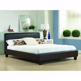 **SAME DAY LONDON DELIVERY**BRAND NEW- DOUBLE Leather Bed With FULL FOAM 10 INCHES THICK Mattress