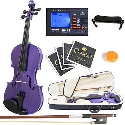 Mendini Full Size 4/4 Acoustic Violin Metallic Purple Solidwood +Tuner