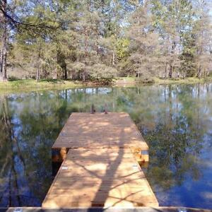 Cedar floating docks. 100% reclaimed cedar wood, all galvanized corners and hardware. No pressure treated wood.