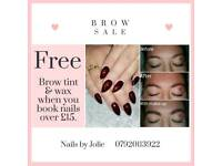 FREE brow tint & wax when you book nails!