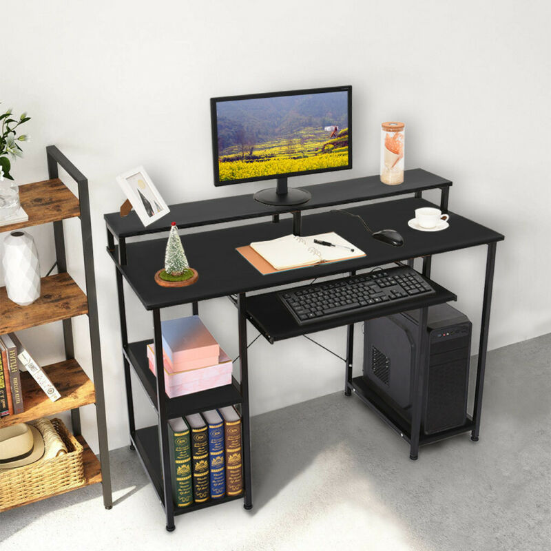 Computer Desk Shelf Drawer PC Laptop Table Workstation Study Home Office Stand