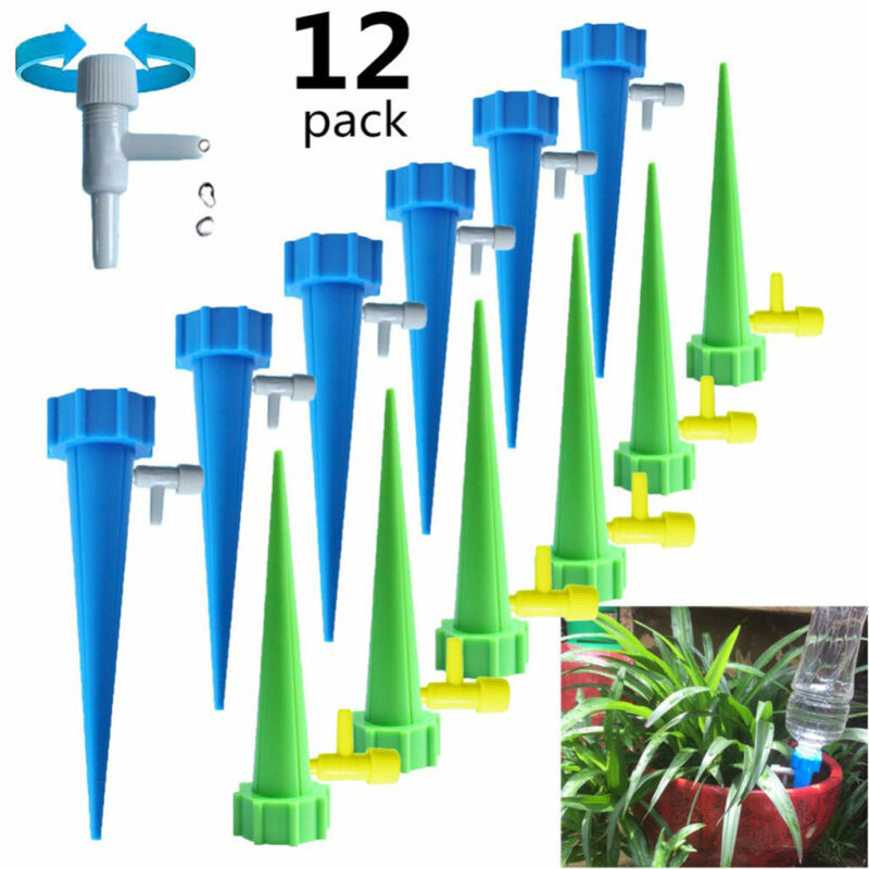 12x Automatic Drip Irrigation Garden Cone Watering Spike Plant Water Bottle Set
