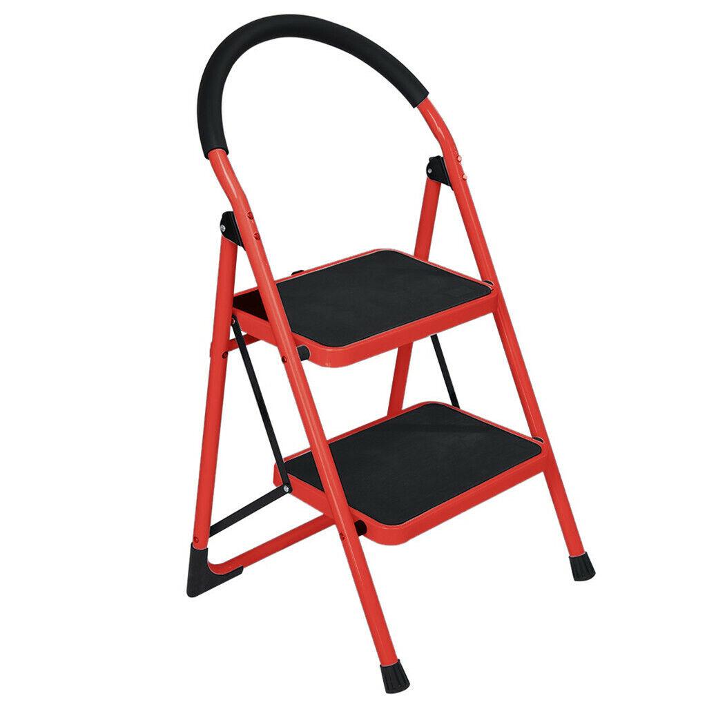2 Step Ladder Folding Stool Heavy Duty 330Lbs Capacity Indus