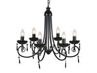 Pendant Ceiling Lamp Elegant Chandelier Black 6 Bulb Sockets-240689