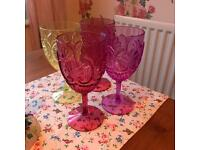 Set Of 4 Wine Glasses Plastic Excellent As New Condition
