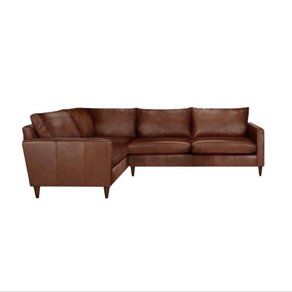 d421d396aead John Lewis Bailey Leather LHF Corner End Sofa, Dark Leg, Milan Chestnut  rrp£2699