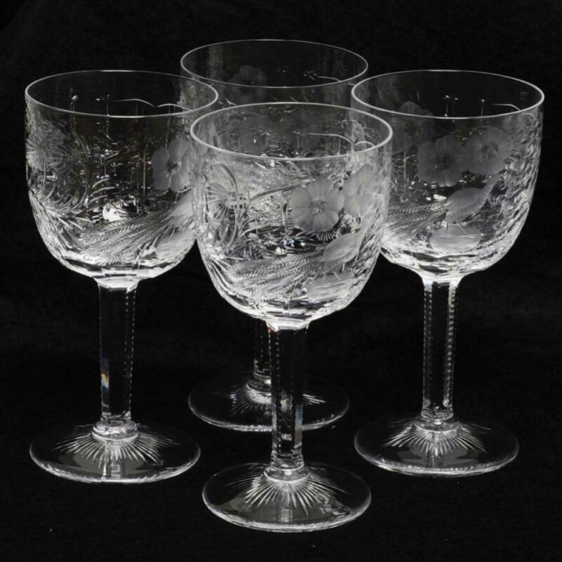 "SET OF FOUR (4) JUSTIN THARAUD ""ROYAL PEACOCK"" WATER GOBLETS"