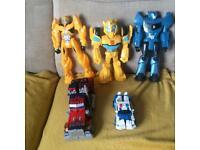Transformers Bundle 1990's Die cast metal Optimus Prime Transforming Truck+Large Action Figures+
