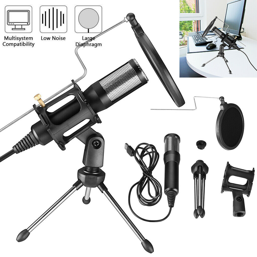 USB Condenser Microphone Mic Kit Tripod Stand For Recording