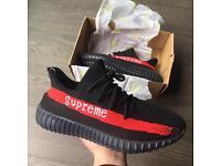 Supreme x Adidas Yeezy Boost 350 v2 Black Red 9.5 UK