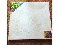 Fun Kid's DIY Activity Single Pack Canvas Painting Craft Kit & Paint - Dragonflies