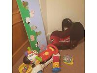 Kids toys and car seat bundle.