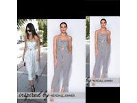 Kendall inspired black / white stripe jumpsuit sizes 6-14