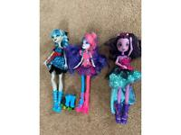 Monster high and my little pony dolls