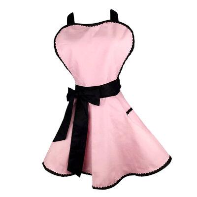 Blesiya Women Vintage Apron Princess Kitchen Cooking Apron Dress Pink