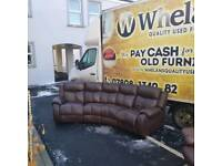 brown leather corner group sofa ( ALL RECLINING) and armchair