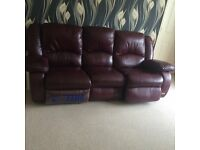 Brown Red Leather 3 Seater with Double Recliner (Electrical Broken) Sofa