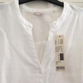 New Espirit white linen top for sale
