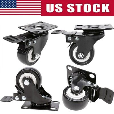 Set Of 4 Heavy Duty Swivel Casters With Brakes Top Plate 2 Polyurethane Wheels
