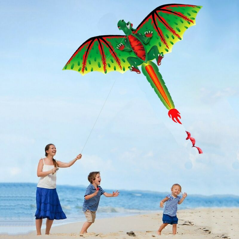 Large 3D Dragon Kite With Long Tail Outdoor Single Line Toy