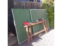 Vintage Table Tennis Table + bats and net -needs hinges fixed