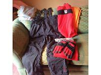 Ski salopettes, inner layers, snood, gloves, socks