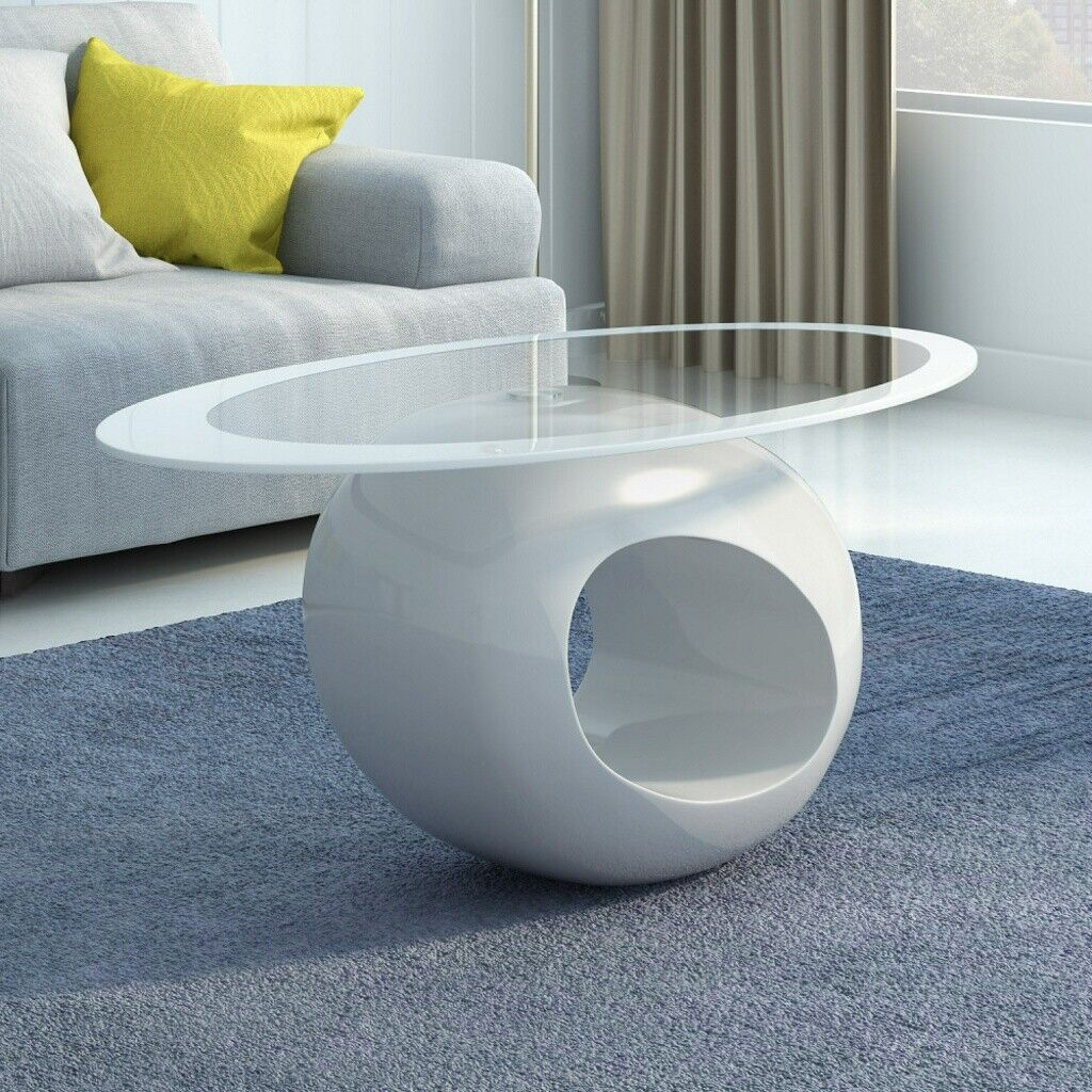 Panana Oval Glass High Gloss Coffee Table Black White Modern Retro Ebay