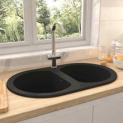 vidaXL Fregadero de Cocina Doble Ovalado Granito Negro Decoración Elegante