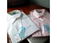 NEW Hawes & Curtis, TWO Women's Classic Shirts, Size 18, w/TAGS- UNOPENED Packages - Pink and White