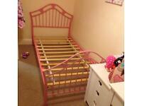Pink girl metal bed frame