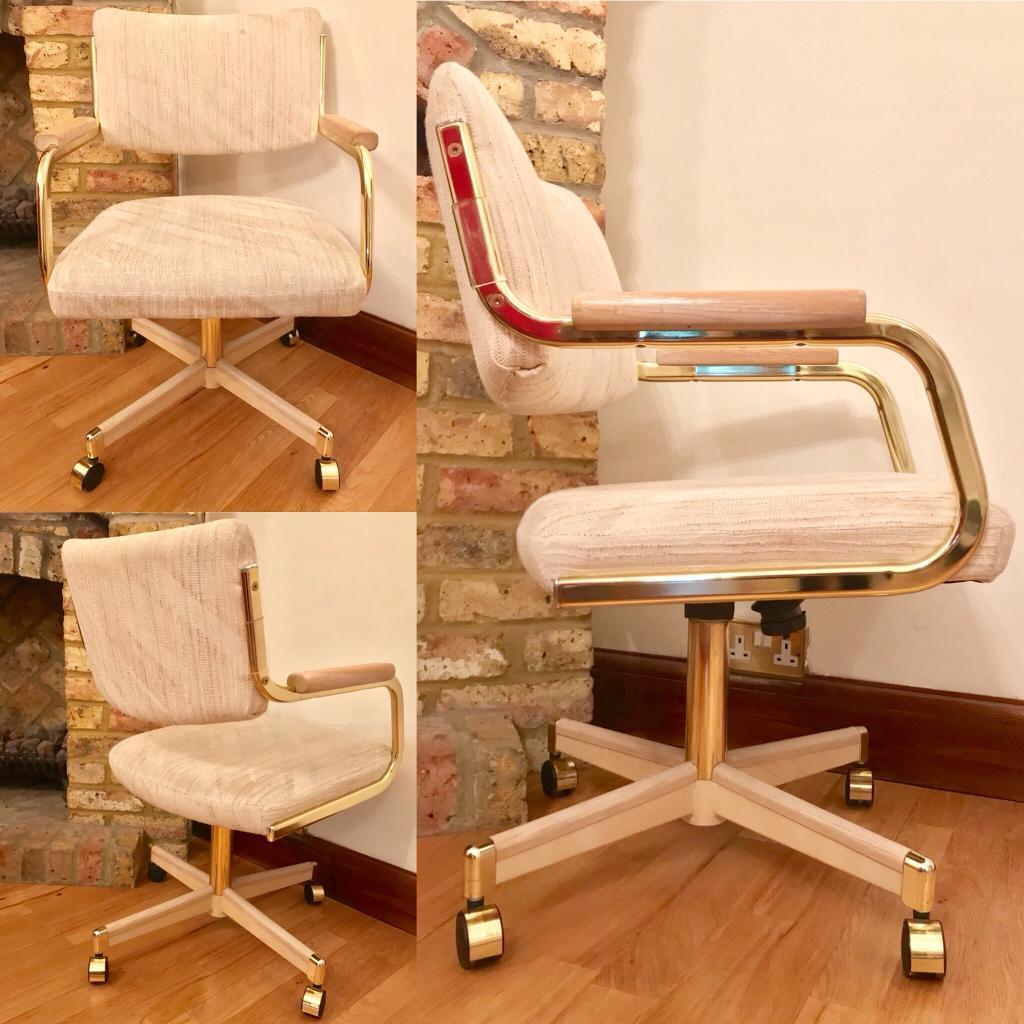 Pleasant Rare Vintage Chromcraft Shell Galaxy Office Dining Chair Brass Wood Swivel In Ashford Surrey Gumtree Machost Co Dining Chair Design Ideas Machostcouk