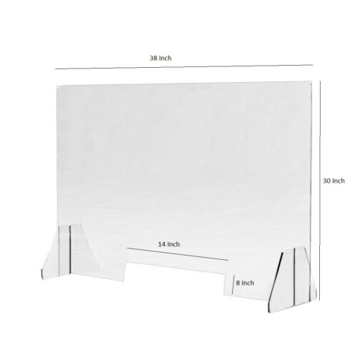 "Sneeze Guard 30 x 38 Acrylic Shield - Table Desk Counter 1/4"" Clear Protective G"