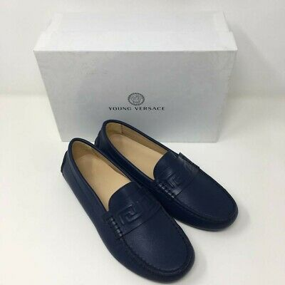 YOUNG VERSACE Leather Moccasins Loafers Shoes with Greca Trim -Navy - UK 7/EU 40