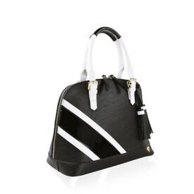 Anna Smith Stripe Bowler Bag in Black