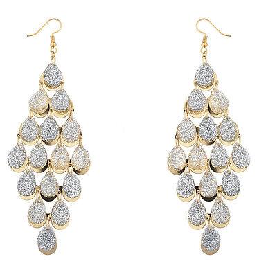 Lux Accessories Goldtone Silver Sticker Glitter Waterfall Chandelier Earrings