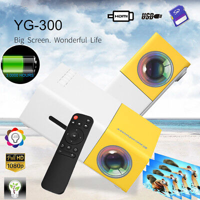 YG300 Mini Beamer 1080P Projektor LED Multimedia Heimkino HD USB/SD/HDMI/AV EU
