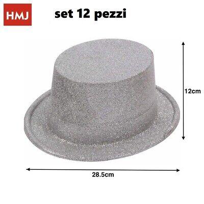 Set 12 Pezzi Cappello Cappelli Glitter Brillantati Silver Per Feste Party hmj