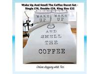 Wake up and smell the coffee duvet set - Prices On Picture