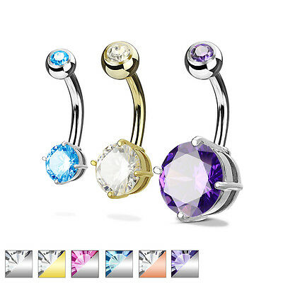Double Solitaire Round CZ Prong Set Surgical Steel Navel Belly Button Ring