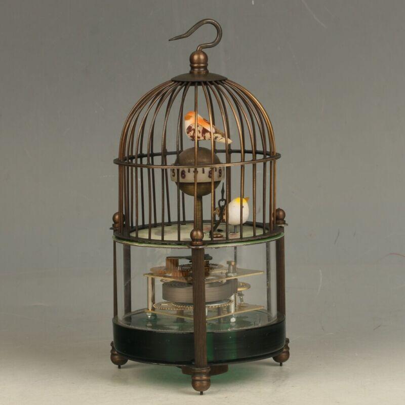 European Style Mechanical Clock Horologe- Brass Birdcage Shape Two Birds FL024
