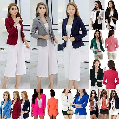 Womens Fashion Slim Solid Suit Blazer Jacket Coat Casual One Button Tops Outwear