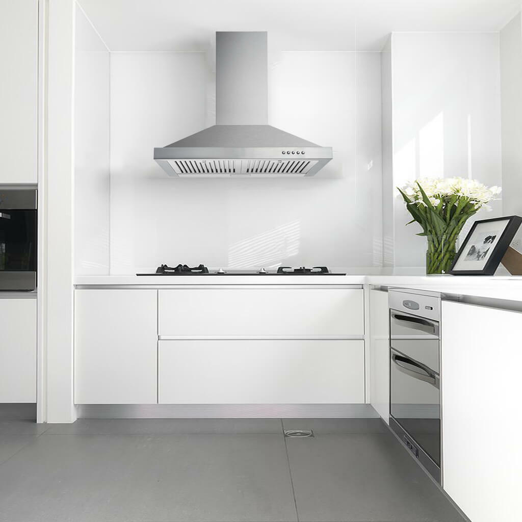 Picture of: Ge Pvw7301 350 Cfm 30 Inch Wide Wall Mounted Range Hood With Glass Canopy And For Sale Online Ebay