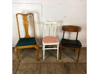 Set of 3 Mismatched Vintage Wooden Dining Chair
