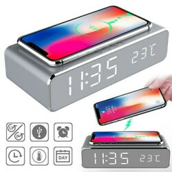 LED Electric Alarm Clock W/Phone Wireless Charger Desktop Digital Thermometer US